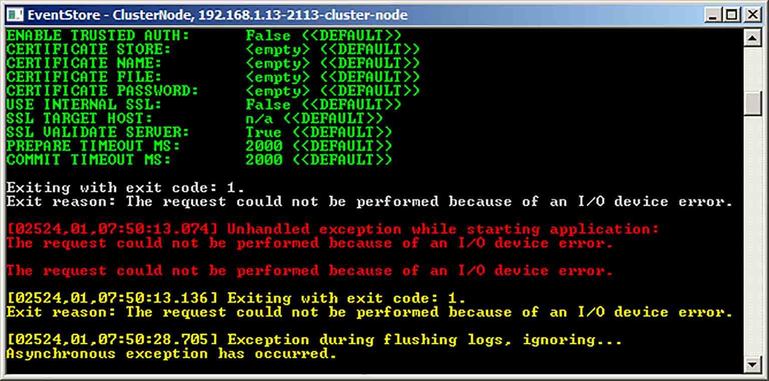 Screenshot of a terminal window showing I/O device errors